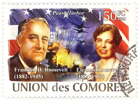 stamp with 32s president of USA Franklin D.Roosevelt and his wife Eleanor Stock Photo - 15837543