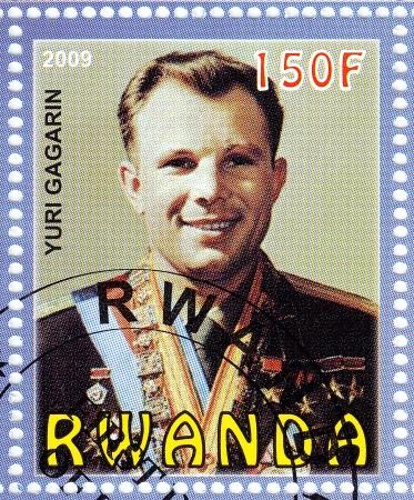 gagarin: RWANDA - CIRCA 2009: stamp printed in Rwanda shows Russian astronaut Yuri Gagarin - first human in space, circa 2009