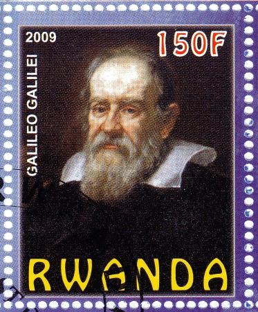 astronomer: RWANDA - CIRCA 2009: stamp printed in Rwanda show famous italian astronomer 16-17 century Galileo Galiley, circa 2009 Editorial