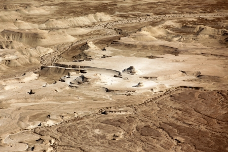hebrews: Judaean Desert, overlooking the Dead Sea at ancient city Masada, Israel Stock Photo