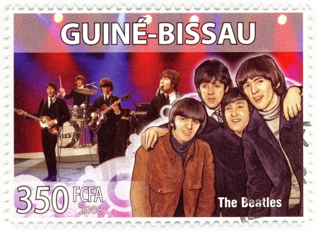 stamp with famous group of The Beatles