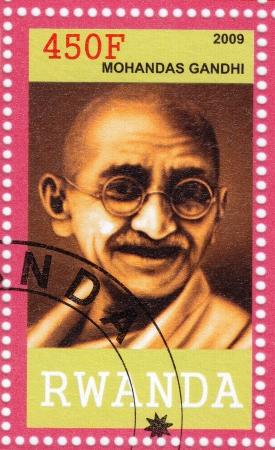 mahatma: RWANDA - CIRCA 2009 : stamp with Mahatma Gandhi , circa 2009