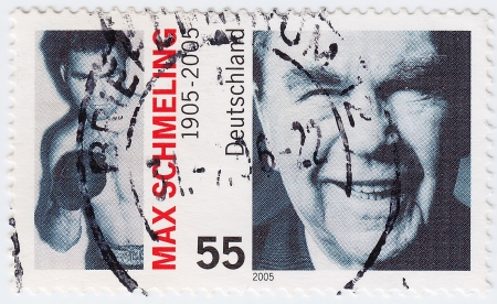 GERMANY- CIRCA 2005: stamp printed in Germany shows Max Schmeling great  boxer, circa 2005 Stock Photo - 15837541