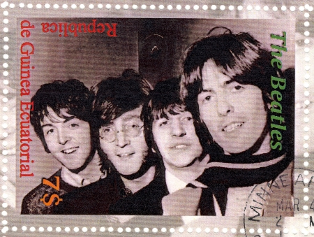 postmarked: stamp with famous group The Beatles Editorial