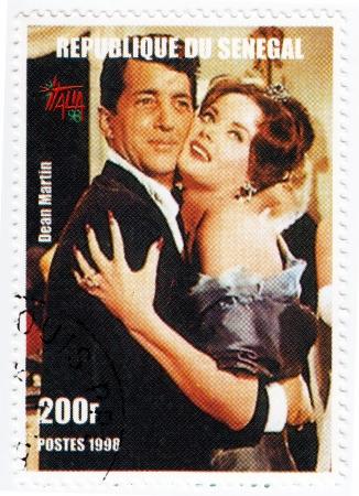 dean: SENEGAL - CIRCA 1998   Stamp printed in Senegal with popular actor Dean Martin, circa 1998 Editorial