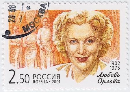 RUSSIA - CIRCA 2001   stamp printed in Russia shows russian actress Lubov Orlova, circa 2001 Stock Photo - 15837502