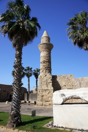 old Beacon at Ceasarea, ancient Roman capital and port, Israel  Stock Photo