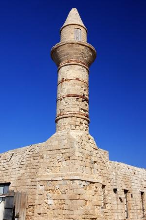ceasarea: old Beacon at Ceasarea, ancient Roman capital and port, Israel Stock Photo