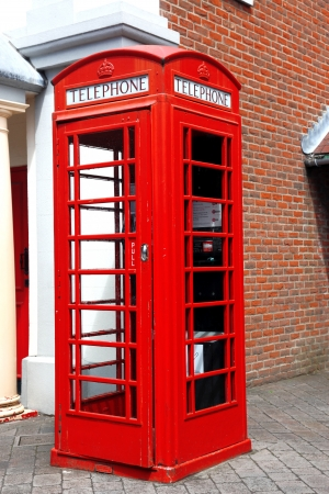 Traditional red telephone box in London photo