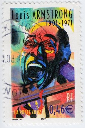 louis armstrong: FRANCE - CIRCA 2002: stamp printed in France shows Louis Armstrong, circa 2002