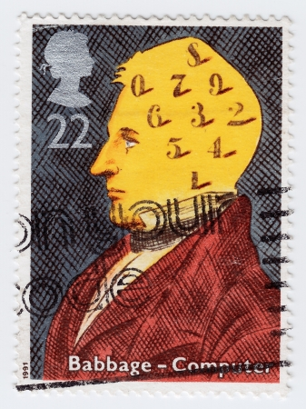 GREAT BRITAIN - CIRCA 1991: stamp printed in Great Britain shows the scientist Babbage, series devoted to the scientists and their technology, circa 1991 Stock Photo - 15839085