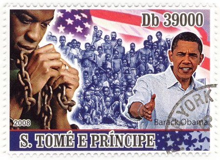 servitude: stamp with 44th president of USA - Barack Obama