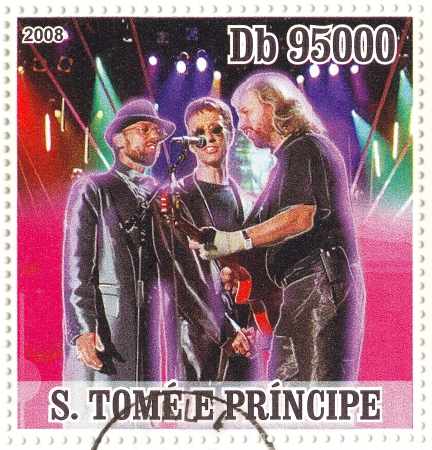 postmarked: S.TOME E PRINCIPE - CIRCA 2008 : famous singing trio of brothers � Barry, Robin, and Maurice Gibb -  Bee Gees