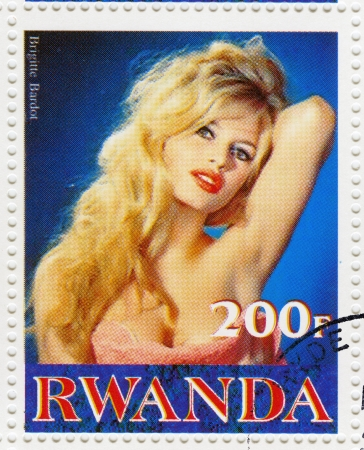 RWANDA - CIRCA 2001 : Stamp printed in Rwanda with actress Brigitte Bardot, circa 2001