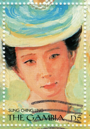 significant: GAMBIA - CIRCA 2000 : stamp printed in Gambia with portrait of Soong Ching-ling, known as Madame Sun Yat-sen most significant political figures of the early 20th century, circa 2000