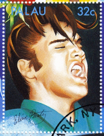 PALAU - CIRCA 2007 :stamp printed in Palau - famous rock and roll singer Elvis Presley, circa 2007