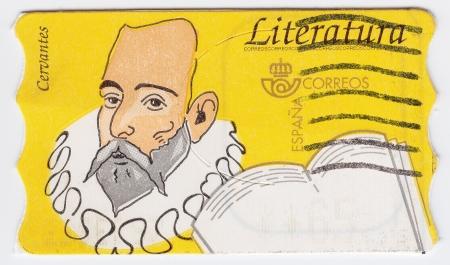 don quixote: SAHARA - CIRCA 1988 : stamp printed in Spain shows Miguel de Cervantes Spanish novelist, poet and playwright, circa 1988