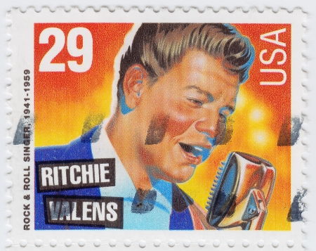 USA - CIRCA 1997   stamp printed in USA shows Ritchie Valens is an Rock and Roll singer, circa 1997 Stock Photo - 15854793
