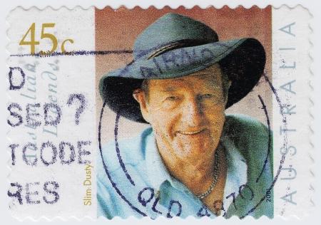 AUSTRALIA - CIRCA 2001   stamp printed in Australia shows Slim Dusty is an musician, circa 2001 Stock Photo - 15854799