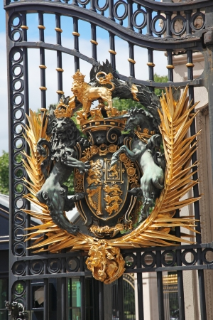 The Royal Seal, Close up of gate at Buckingham Palace, UK Stock Photo - 15854818