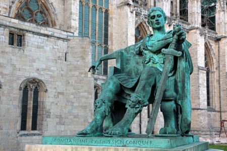 constantine: statue of Constantine I outside York Minster in England , GB Editorial