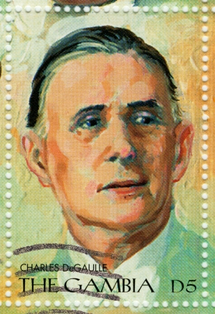 GAMBIA - CIRCA 2000 : Stamp printed in Gambia shows Charles De Gaulle - French general, founded the French Fifth Republic, circa 2000 photo