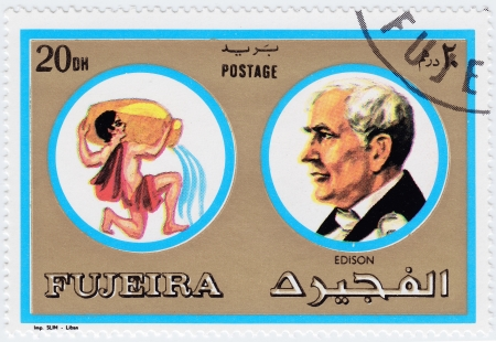 FUJEIRA - CIRCA 1971 : stamp printed in Fujeira, Zodiac Signs of Famous People  shows Thomas Edison - American inventor, scientist and businessman, circa 1971  Stock Photo - 15852261