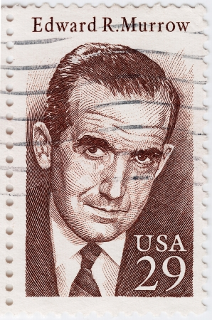 USA - CIRCA 1978 : stamp printed in USA shows Edward Roscoe Murrow was an American broadcast journalist, circa 1978 Stock Photo - 15854798