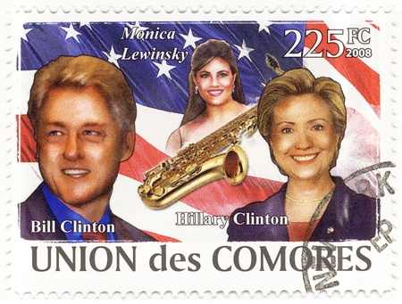 stamp with 42d president of Bill Clinton and his wife Hillary Stock Photo - 15854788