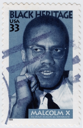postmarked: USA - CIRCA 1999 : stamp printed in USA shows Malcolm X African-American Muslim minister, public speaker , circa 1999