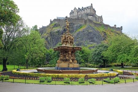 princes street: Edinburgh Castle, Scotland, from Princes Street Gardens, with the Ross Fountain, UK