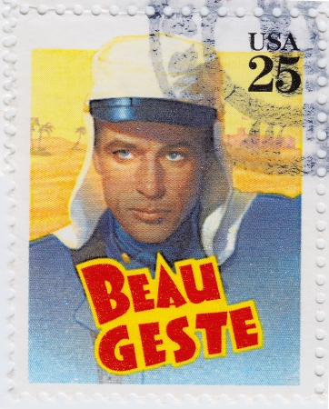 geste: USA - CIRCA 1978 : stamp printed in USA shows poster with Gary Cooper in Beau Geste is a 1939 American film, circa 1978