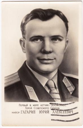 gagarin: USSR - CIRCA 1961 : postmarked Soviet postcard with first human in space  Yuri Gagarin, circa 1961, USSR Editorial