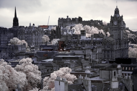 Edinburgh vista from Calton Hill including Edinburgh Castle, Balmoral Hotel, UK photo