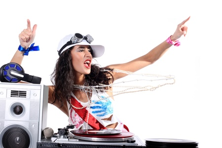 cool DJ isolated on white photo