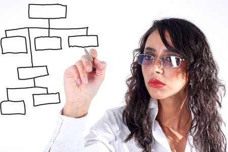 businesswoman drawing plan or something