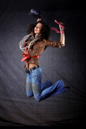 gipsy: dancer in gipsy style in jump Stock Photo