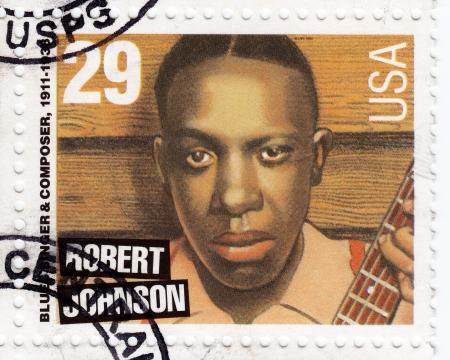 USA - CIRCA 1994 : stamp printed in USA shows blues singer Robert Johnson, circa 1994 Stock Photo - 15855078