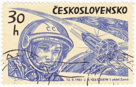 vostok: CZECHOSLOVAKIA - CIRCA 1964  stamp printed in Czechoslovakia show russian astronaut Yuri Gagarin first human in space and Soviet spaceship VOSTOK 1, circa 1964
