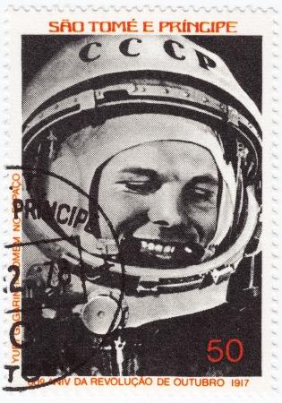 gagarin: SAO TOME E PRINCIPE - CIRCA 1978   Stamp printed in Sao Tome e Principe shows Russian astronaut Yuri Gagarin - first human in space, circa 1978