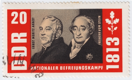GERMANY- CIRCA 1963 : stamp printed in Germany shows Ernst Moritz Arndt and Baron Heinrich vom Stein, circa 1963 Stock Photo - 15855111