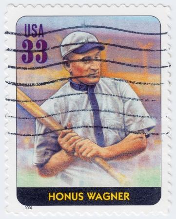 shortstop: USA - CIRCA 2000: stamp printed in the USA shows Honus Wagner American Major League Baseball shortstop, circa 2000