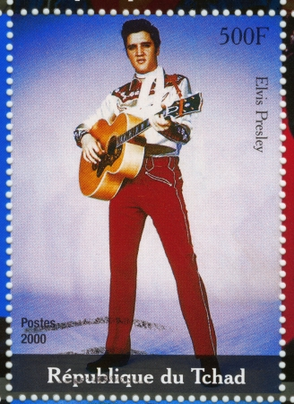 TCHAD - CIRCA 2000 : stamp printed in Tchad - famous actor and rock and roll singer Elvis Presley, circa 2000 Stock Photo - 15855099