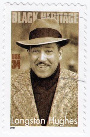 USA - CIRCA 2002 : stamp printed in USA show American poet, novelist, playwright, and columnist Langston Hughes, circa 2002 Stock Photo - 15855108