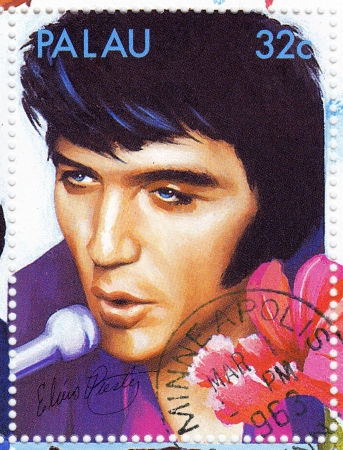 PALAU - CIRCA 2007  stamp printed in Palau - famous rock and roll singer Elvis Presley, circa 2007