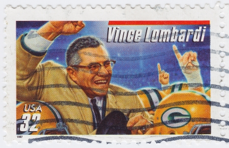 USA - CIRCA 1997  stamp printed in USA show Vincent Thomas  Vince  Lombardi great American football coach, circa 1997