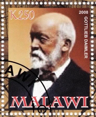 MALAWI - CIRCA 2008   Gottlieb Daimler - german engineer, industrial designer and industrialist, circa 2009