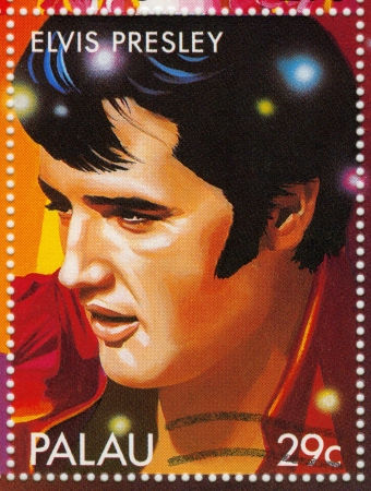 PALAU - CIRCA 2000   Stamp printed in Palau shows actor and rock and roll singer Elvis Presley, circa 2000