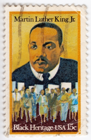 marchers: USA - CIRCA - 1979   stamp printed in the USA shows dr  Martin Luther King Jr  And civil rights marchers, Black heritage, circa 1979