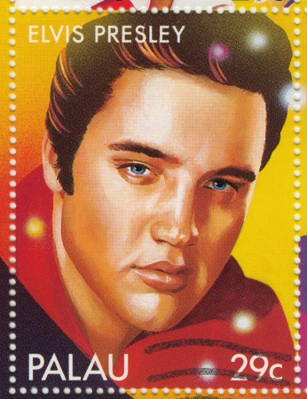 postmarked: PALAU - CIRCA 2000 : Stamp printed in Palau shows actor and rock and roll singer Elvis Presley, circa 2000